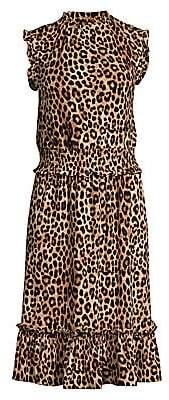 MICHAEL Michael Kors Women's Leopard-Print Shirred-Waist Dresss