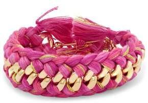Aurelie Bidermann Do Brasil 18-Karat Gold And Braided Cotton Bracelet