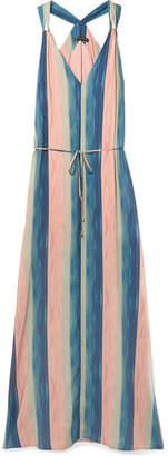 Vix Mani Julie Belted Striped Voile Maxi Dress - Blush