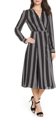 Charles Henry Stripe Tie Waist Midi Dress