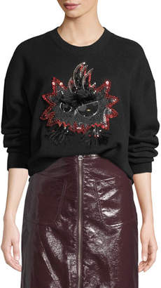 McQ Monster Embellished Crewneck Pullover Sweater