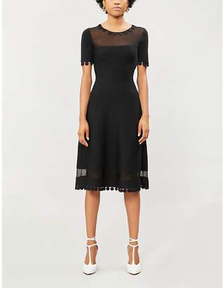 Oscar de la Renta Sheer-panel wool-blend dress