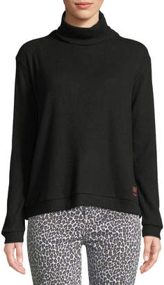 Peace Love World Catherine Ribbed Lace-Up-Back Turtleneck Sweater, Black