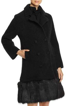 Emporio Armani Double-Breasted Faux-Fur Trimmed Coat