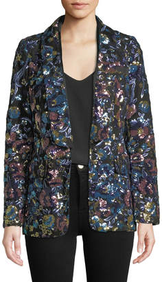 Self-Portrait Self Portrait Floral Sequin Single-Button Jacket