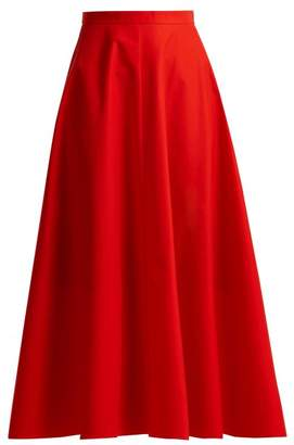 DELPOZO A Line Cotton Midi Skirt - Womens - Red