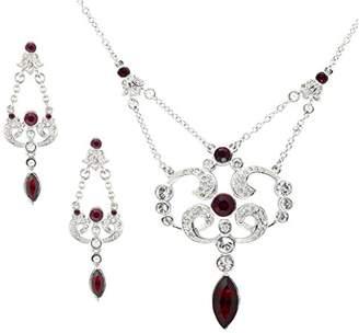 Swarovski Cristalina Rhodium Plated Edwardian Style Siam Crystal Necklace and Earring Set
