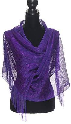 Petal Rose Shawls and Wraps for Evening Dresses, Wedding Shawl Wrap Fringes Scarf for Women White Silver