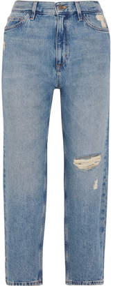 MiH Jeans Jeanne High-rise Cropped Distressed Straight-leg Jeans - Blue