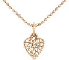 Jennifer Meyer Rose Gold Diamond Heart Necklace