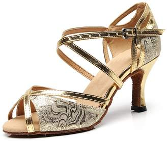 Minishion Women's Floral Printed Gold Synthetic Latin Salsa Dance Shoes Wedding Sandals US 10