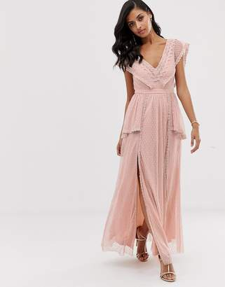 Lace & Beads maxi dress in taupe