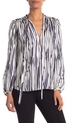 Theory Bernetta Broken Stripe Twill Silk Blouse