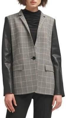 DKNY Plaid-Print Notch Jacket