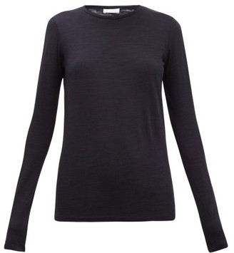 Raey Long Sleeved Slubby Cotton Jersey T Shirt - Womens - Navy