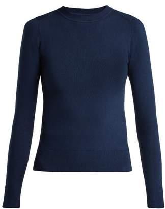 Joostricot - Peachskin Cotton Blend Knit Sweater - Womens - Navy