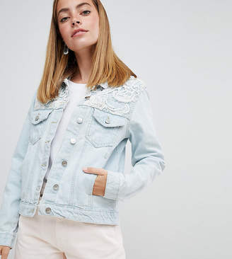 Brave Soul Petite Rayola Denim Jacket with Crochet Insert