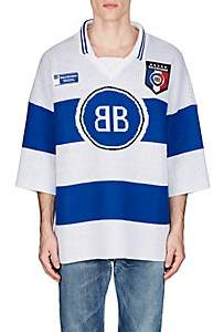Balenciaga Men's BB Jacquard Cotton-Blend Rugby Sweater - Blue