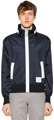 Thom Browne Hooded Zip-Up Lightweight Nylon Jacket