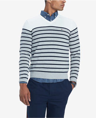 Tommy Hilfiger Men Signature Coast Colorblocked Stripe V-Neck Sweater