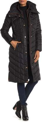 Andrew Marc Funnel Neck Button Snap Vent Puffer Coat