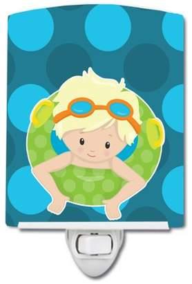 Pool' Caroline's Treasures Summer Pool Boy in Tube Blonde Ceramic Night Light