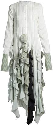 J.W.Anderson Ruffled-hem striped dress