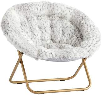 Pottery Barn Teen Hang-A-Round Chair, Gray Leopard Faux-Fur w/ Gold Base