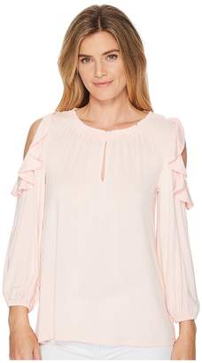 Lauren Ralph Lauren Ruffled Jersey Cold-Shoulder Blouse Women's Clothing