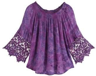 KUPERHAND / STUDIO WEST Women's Purple Ombre Festival Crochet Top - Boho Lace Bell Sleeves