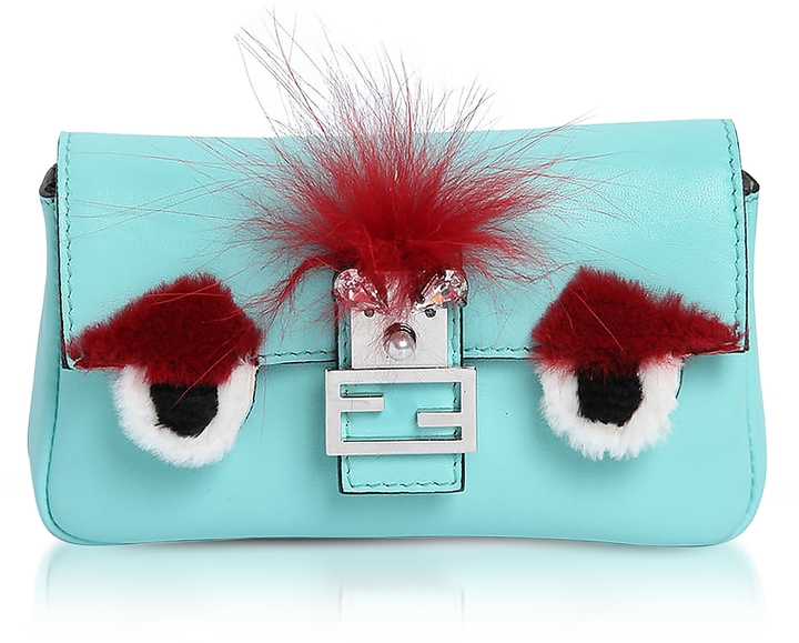 Fendi Micro Baguette Turquoise Leather and Fur Crossbody Bag