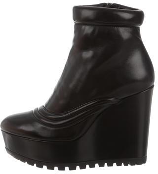 pradaPrada Leather Platform Wedge Ankle Boots w/ Tags