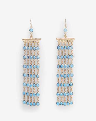 Express Bezel Fringe Chandelier Drop Earrings