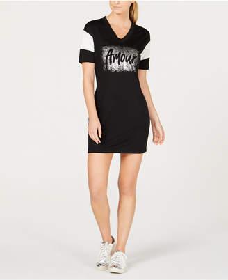Material Girl Active Juniors' Mesh-Trimmed Graphic T-Shirt Dress