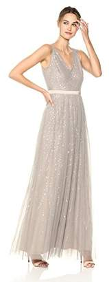 Adrianna Papell Women's Beaded Sleeveless Modified Mermaid Skirt Long Dress