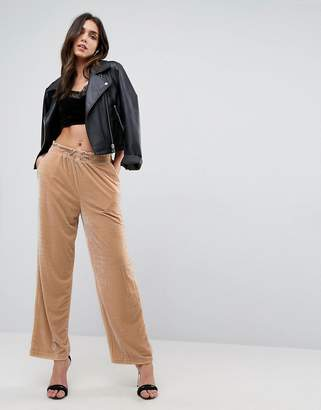 Asos DESIGN Wide Leg Velvet Joggers with Elastic Cord
