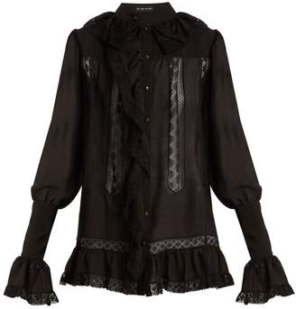 Etro - Versaille Ruffle Trimmed Silk Voile Blouse - Womens - Black