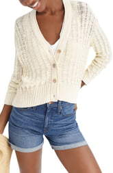 J.Crew Point Sur Textured V-Neck Cardigan