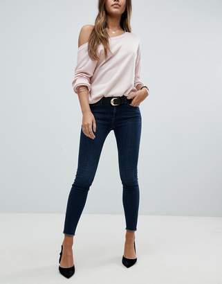 Asos Design Lisbon Skinny Mid Rise Jeans In Dark Wash Blue In Ankle Grazer Length