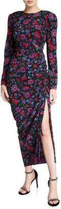 Veronica Beard Selena Long-Sleeve Floral Ruched Dress