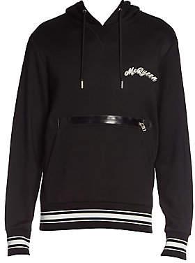 Alexander McQueen Men's Zipper Logo Cotton Hoodie