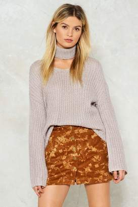 Nasty Gal In the Thick of Knit Choker Sweater
