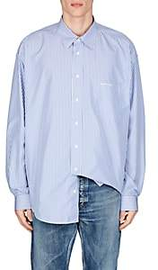Balenciaga Men's Striped Cotton-Blend Poplin Oversized Shirt - Blue