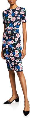Erdem Essie Short-Sleeve Round-Neck Cut-Waist Dress