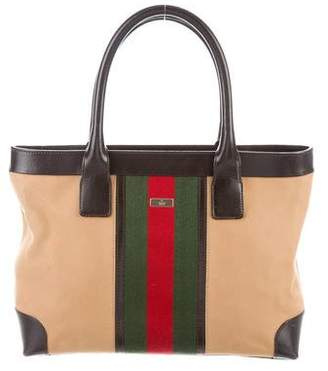 Gucci Leather-Trimmed Web Bag