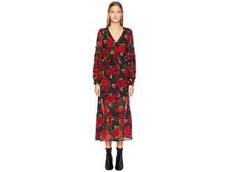 The Kooples Long Crepe Muslin Dress with a Sleeping Roses Print