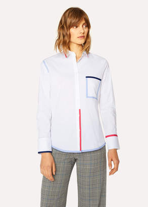 Paul Smith Women's White Stretch-Cotton Shirt With Contrast Details