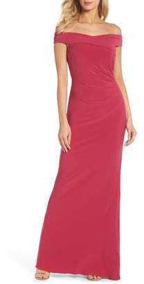 Adrianna Papell Off the Shoulder Jersey Gown