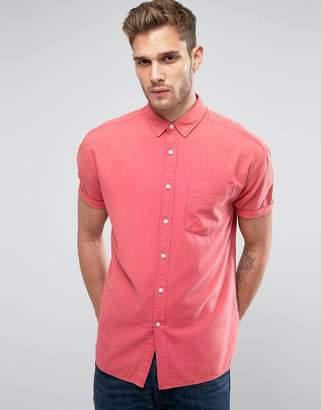 Asos DESIGN Oversized Oxford In Rose With Short Sleeve