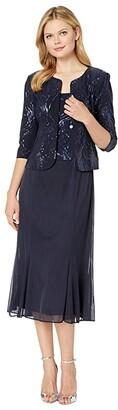 Alex Evenings Tea Length Mock Jacket Dress with Sequin Detail